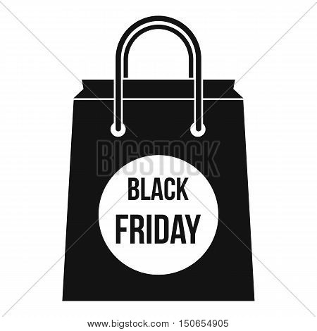 Black Friday shopping bag icon in simple style on a white background vector illustration