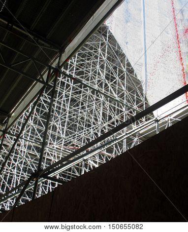 huge scaffolding for a bridge