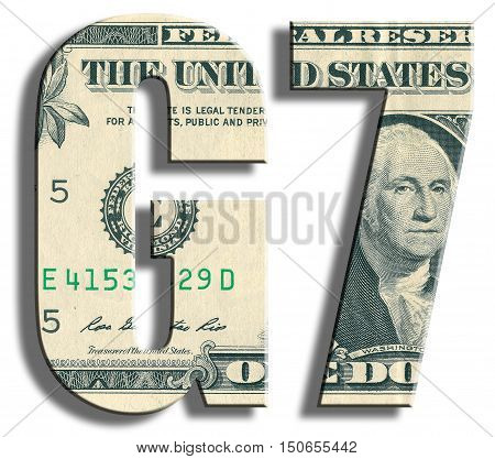 G7- Group Of 7 Most Powerful Countries. Us Dollar Texture.