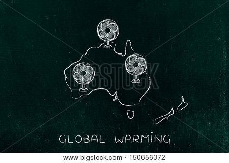 Global Warming, Oceania And Funny Electric Fans