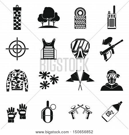 Paintball icons set in simple style. Airsoft equipment set collection vector illustration