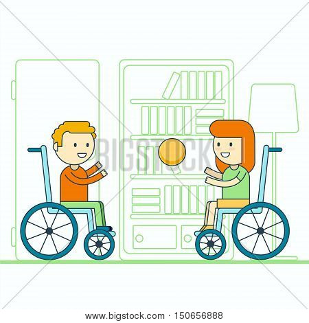 Cheerful wheelchair user boy and girl throwing ball. Happy smiling disabled toddlers playing game. Physically challenged children or kids lifestyle portrait.Trendy cartoon line style vector illustration.