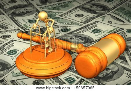 Injury Legal Gavel Concept 3D Illustration