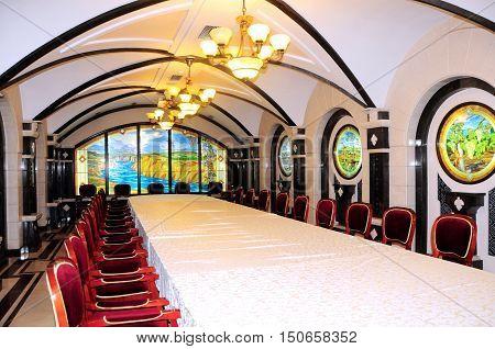 Underground wine sampling hall on October 02 2016. The wine cellars of Cricova is second largest wine cellar in Moldova