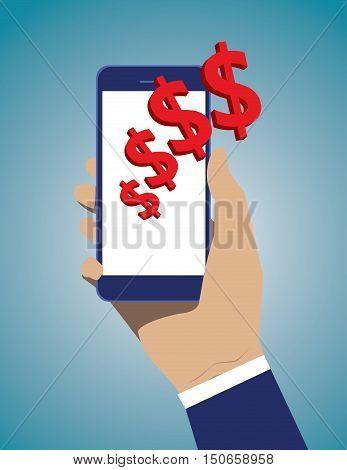 Smart Phone Mobile Payment Checkout Businessman. Business illustration. Vector flat