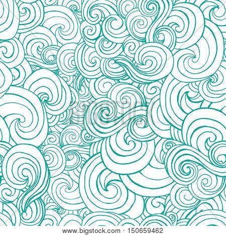 Decorative Ornamental Turqiouse Or Blue Waves In Sketch Style.