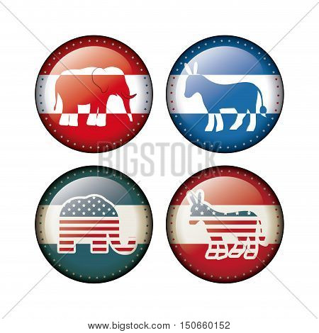 Elephant and donkey inside buttons icon. Vote election nation and government theme. Silhouette design. Vector illustration