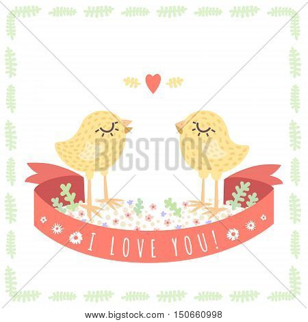 Yellow cute baby chickens in love vector illustration. Saint Valentine's greeting card. Perfect for your loved ones.