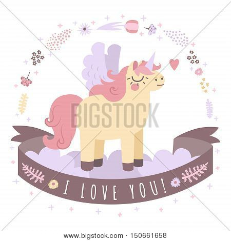 Unicorn on the clouds vector illustraton with ribbon I Love You (pastel colors).