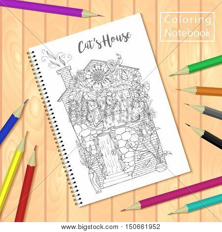 Spiral bound notepad or coloring book with colorful pencils and coloring pages picture, house with cat. Vector template or mock up. Easy to place your image on the cover.Top view.