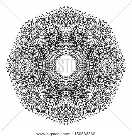 Mandala. Ethnic decorative element. Hand drawn backdrop. Islam, Arabic, Indian, ottoman motifs. Boho style. Mono color black line art for adult coloring book page design.