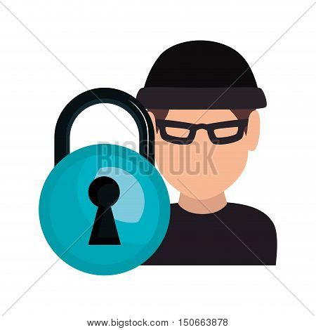 avatar man thief wearing black clothes and  blue padlock icon. vector illustration