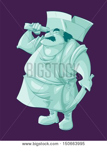 Colorful vector illustration of a cartoon green ghost butcher