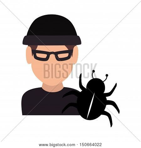avatar man thief wearing black clothes and  cyber virus icon. vector illustration