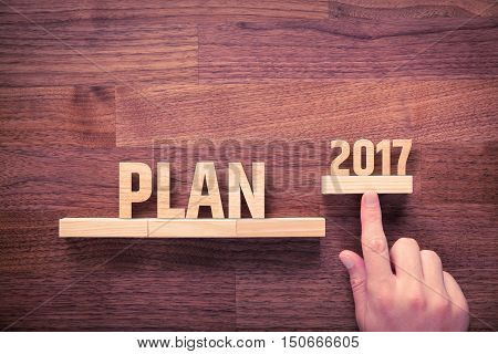 Businessman plan 2017. Business new year plans goals and targets concept.