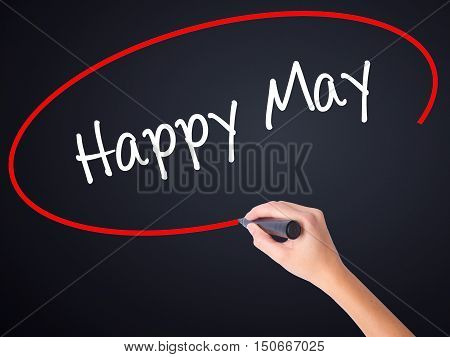 Woman Hand Writing Happy May With A Marker Over Transparent Board