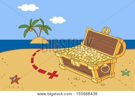 a chest of gold coins on the island