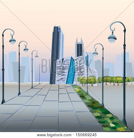 Modern City Megalopolis View Skyscraper Cityscape Vector Illustration.  Business center in the early morning