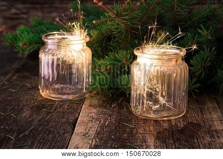 Christmas And New Year Party Sparkler On Wooden Vintage Table