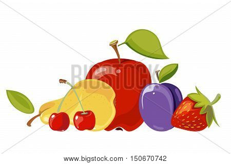 Heap of fruits isolated over white. Organic sweet food for a healthy life. Vector illustration