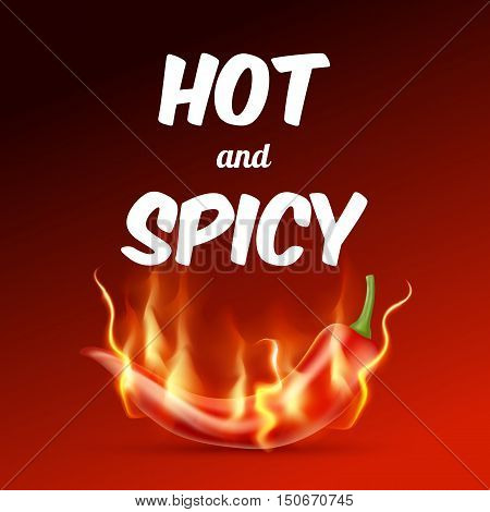 Red Hot Chili Pepper With Flame On A Red Background. Hot And Spicy Food Illustration. Vector Illustr