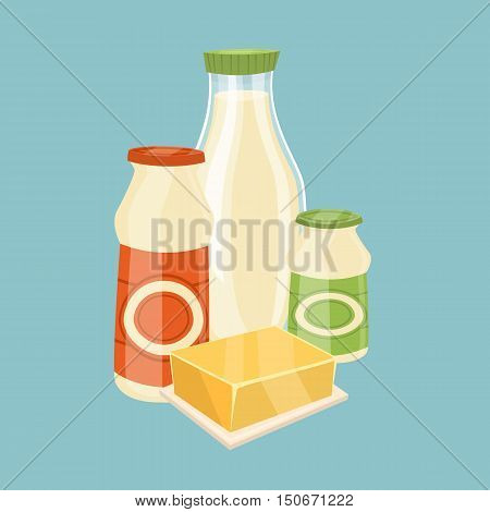 Assortment of dairy products isolated on blue background, vector illustration. Nutritious and healthy milk products. Natural and healthy food. Organic farmers food. Organic food and dairy product concept. Milk product icon. Cartoon dairy product. Dairy ic