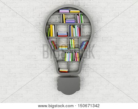 3d renderer image. Bookshelf in form of bulb. Inspiration creative and new idea concept.