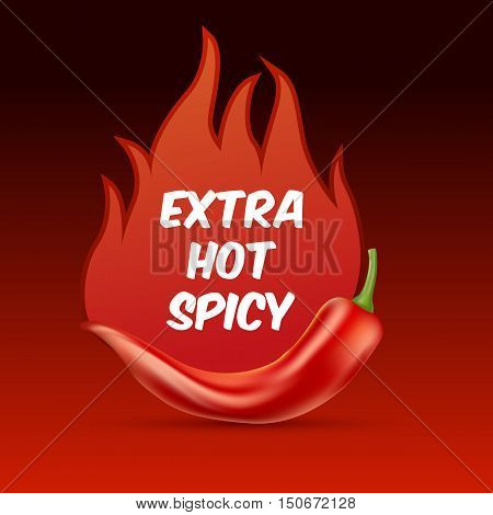 Extra Hot And Spicy Chili Paper Poster, Badge Or Banner Template With Fire, Isolated On Dark Backgro