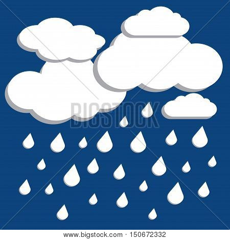 White vector clouds with falling rain over blue background. Cloudy and rainy weather illustration