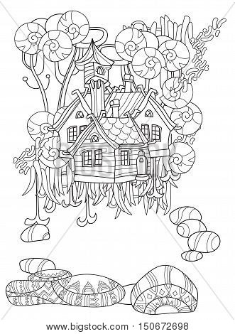 Vector cute fairy tale forest house doodle.Vector line illustration.Sketch for postcard, print or coloring anti stress relax adult book.Boho zen art style.