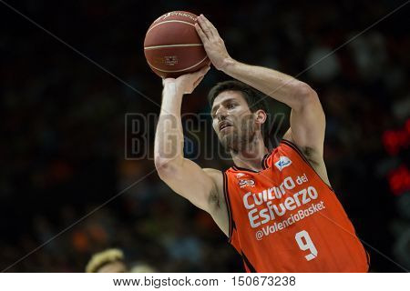 VALENCIA, SPAIN - OCTOBER 6th: Van Rossom during spanish league match between Valencia Basket and Real Madrid at Fonteta Stadium on October 6, 2016 in Valencia, Spain