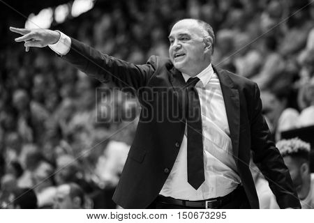 VALENCIA, SPAIN - OCTOBER 6th: Pablo Laso Madrid Coach during spanish league match between Valencia Basket and Real Madrid at Fonteta Stadium on October 6, 2016 in Valencia, Spain