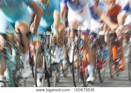 Group of cyclist during a race motion blur