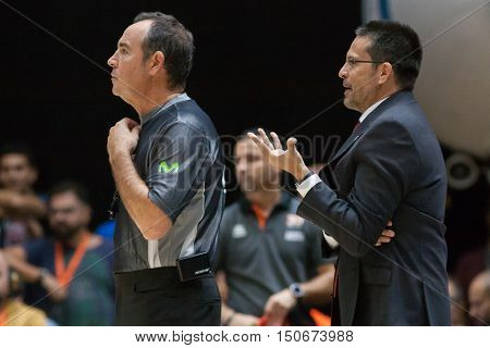 VALENCIA, SPAIN - OCTOBER 6th: (R) Pedro Martinez talks with referee during spanish league match between Valencia Basket and Real Madrid at Fonteta Stadium on October 6, 2016 in Valencia, Spain