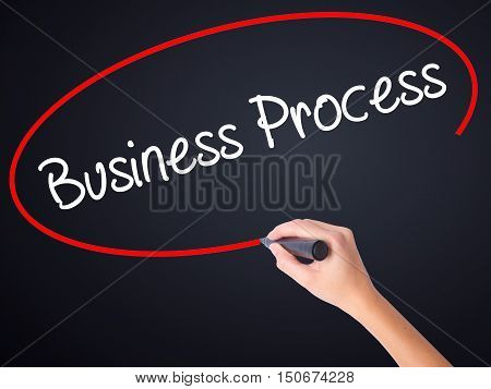 Woman Hand Writing Business Process  With A Marker Over Transparent Board .