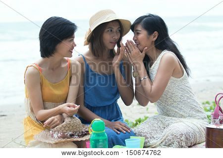 asian younger woman happiness emotion on sea beach vacation time
