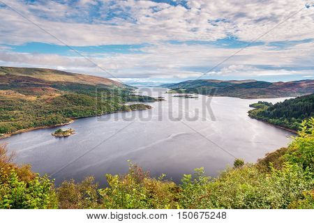 Loch Riddon and Isle of Bute, also known as Argyll's Secret Coast in the Firth of Clyde, seen here looking down the eastern Kyle