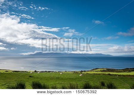 Isle of Arran under cloud, at the southern end of the Cowal Peninsula, looking over the Sound of Bute
