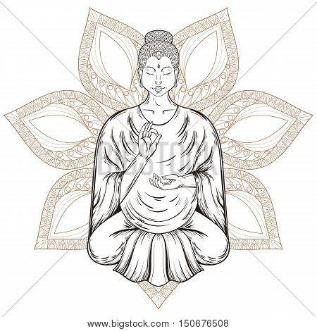Vector Sitting Buddha in Lotus pose, isolated on henna mandala, teaching Buddhism, tattoo art, religion t-shirt print. Monochrome vintage hand drawn illustration.  Spiritual, yoga motifs, symbol of Tibet, Asia.