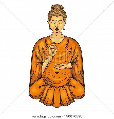 Happy Buddha sitting in Lotus pose, teaching Buddhism. Vector tattoo art, religion t-shirt print. Monochrome vintage hand drawn illustration.  Spiritual, yoga motifs, symbol of Tibet, Asia.