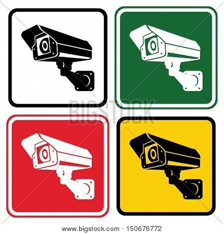 Sign surveillance camera. Set of warning signs in different colors. Vector illustration.