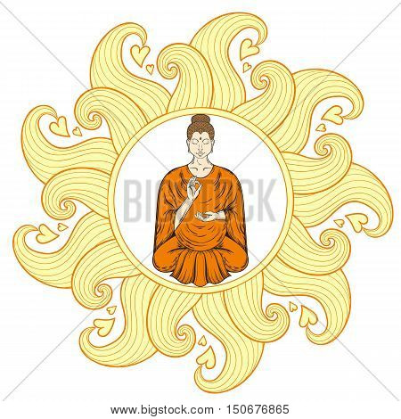 Sitting Buddha in Lotus pose in waves mandala, teaching Buddhism, tattoo art, religion t-shirt print. Monochrome vintage hand drawn illustration.  Spiritual, yoga motifs, symbol of Tibet, Asia.