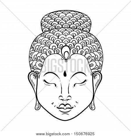 Vector artistically Portrait of Buddha for ornamental adult coloring pages, Buddhism tattoo art, ethnic patterned t-shirt print. Monochrome hand drawn religion illustration in doodle style.