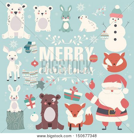 Collection of Christmas animals lettering and Santa Claus Merry Christmas vector illustration