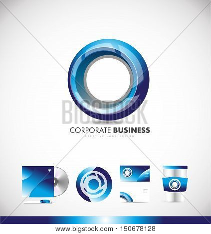 Circle corporate business blue vector logo icon sign design template corporate identity