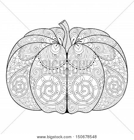 Zentangle stylized autumn Pumpkin for Thanksgiving day, Halloween. Freehand sketch for adult anti stress coloring page with doodle elements. Artistic vector illustration for  t-shirt print