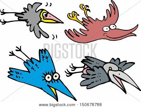 Set Of Flying Comic Cartoon Crows