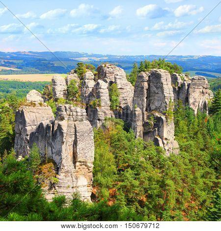 Amazing rock formation from sandstone towers in beautiful landscape. Cesky Raj, Czech Paradise in Czech Republic, Central Europe. Wonders in european nature.