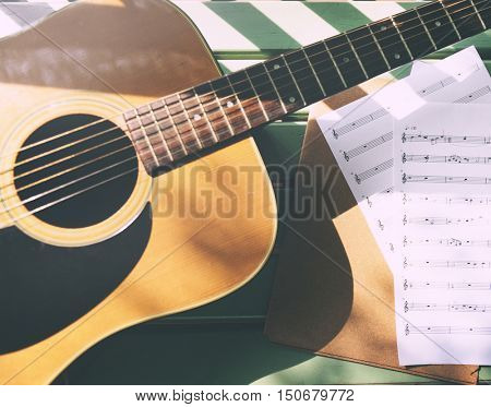 Guitar And Note Sheets Concept