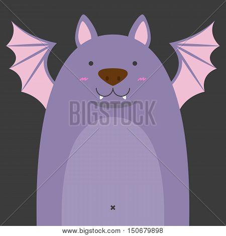 cute big fat bat on dark gray background